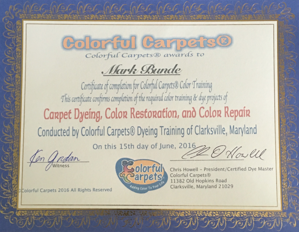 New Braunfels Carpet Cleaning has been certified in carpet dyeing by Colorful Carpets Dyeing Training